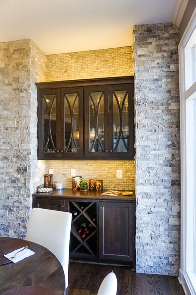 custom bar cabinets with stone tile