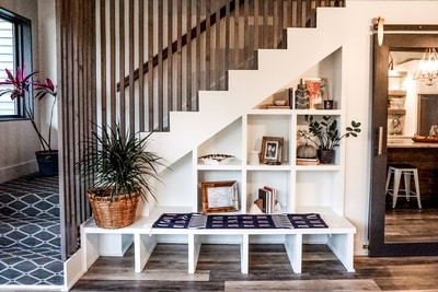 built-in bench seat modern stair
