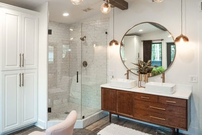 mid century vanity modern bathroom new home